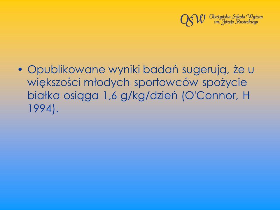 Opublikowane wyniki badań sugerują, że u większości młodych sportowców spożycie białka osiąga 1,6 g/kg/dzień (O'Connor, H 1994).