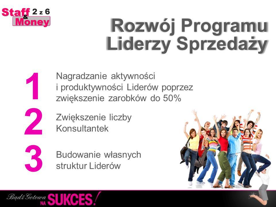 Rozwój Programu Budowanie własnych struktur Liderów 1 2 3 Zwiększenie liczby Konsultantek Nagradzanie aktywności i produktywności Liderów poprzez zwię