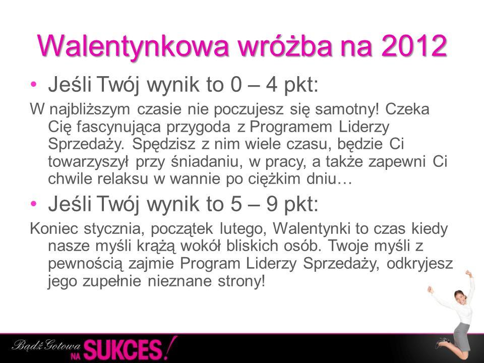 Walentynkowa wróżba na 2012 Jeśli Twój wynik to 0 – 4 pkt: W najbliższym czasie nie poczujesz się samotny! Czeka Cię fascynująca przygoda z Programem