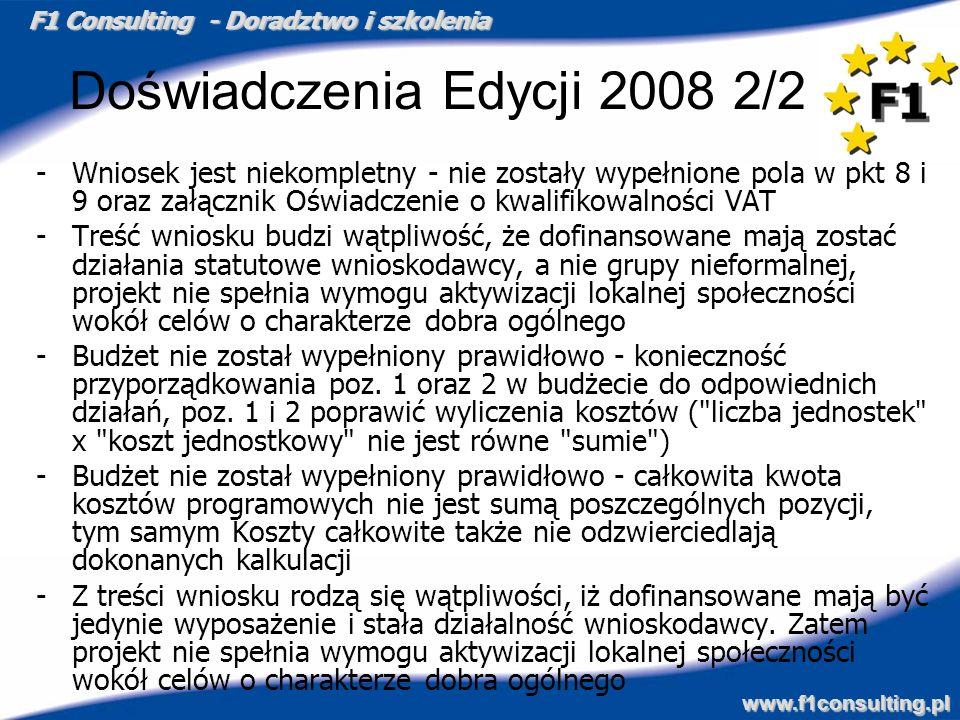F1 Consulting - Doradztwo i szkolenia www.f1consulting.pl Doświadczenia Edycji 2008 2/2 -Wniosek jest niekompletny - nie zostały wypełnione pola w pkt