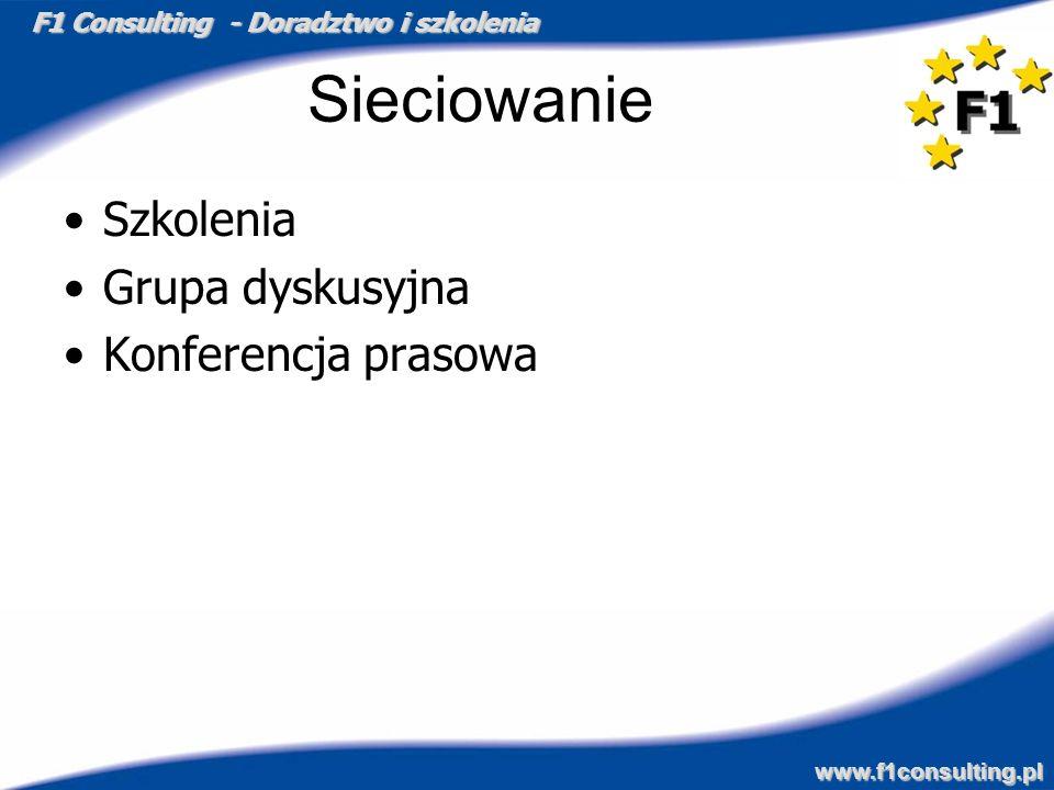 F1 Consulting - Doradztwo i szkolenia www.f1consulting.pl Sieciowanie Szkolenia Grupa dyskusyjna Konferencja prasowa