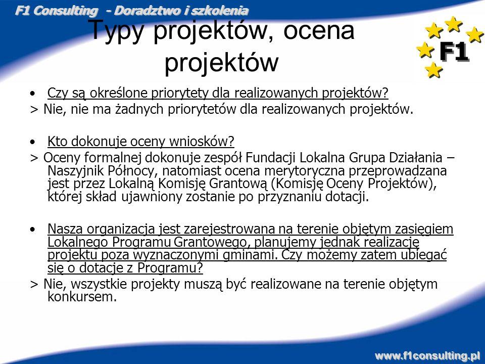 F1 Consulting - Doradztwo i szkolenia www.f1consulting.pl Typy projektów, ocena projektów Czy są określone priorytety dla realizowanych projektów? > N