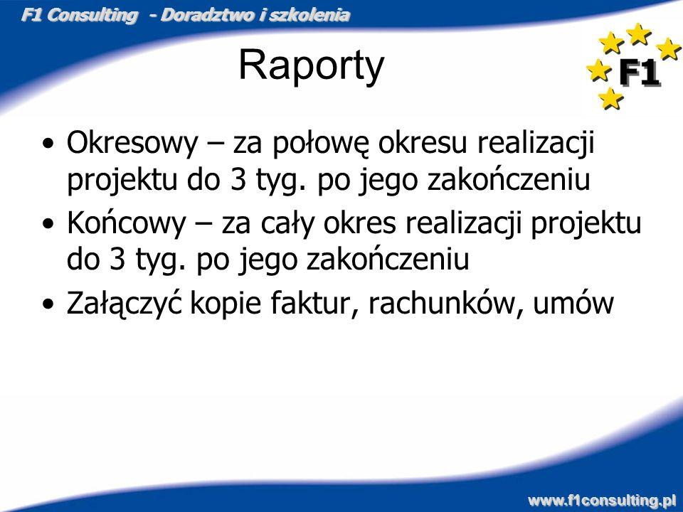 F1 Consulting - Doradztwo i szkolenia www.f1consulting.pl Raporty Okresowy – za połowę okresu realizacji projektu do 3 tyg. po jego zakończeniu Końcow