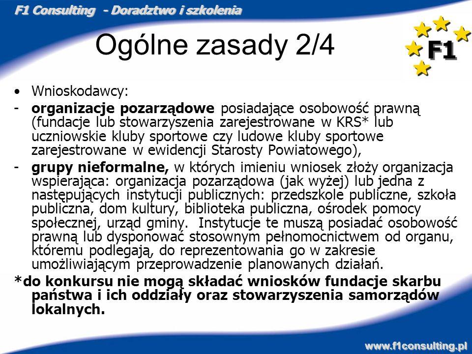 F1 Consulting - Doradztwo i szkolenia www.f1consulting.pl Ogólne zasady 2/4 Wnioskodawcy: -organizacje pozarządowe posiadające osobowość prawną (funda
