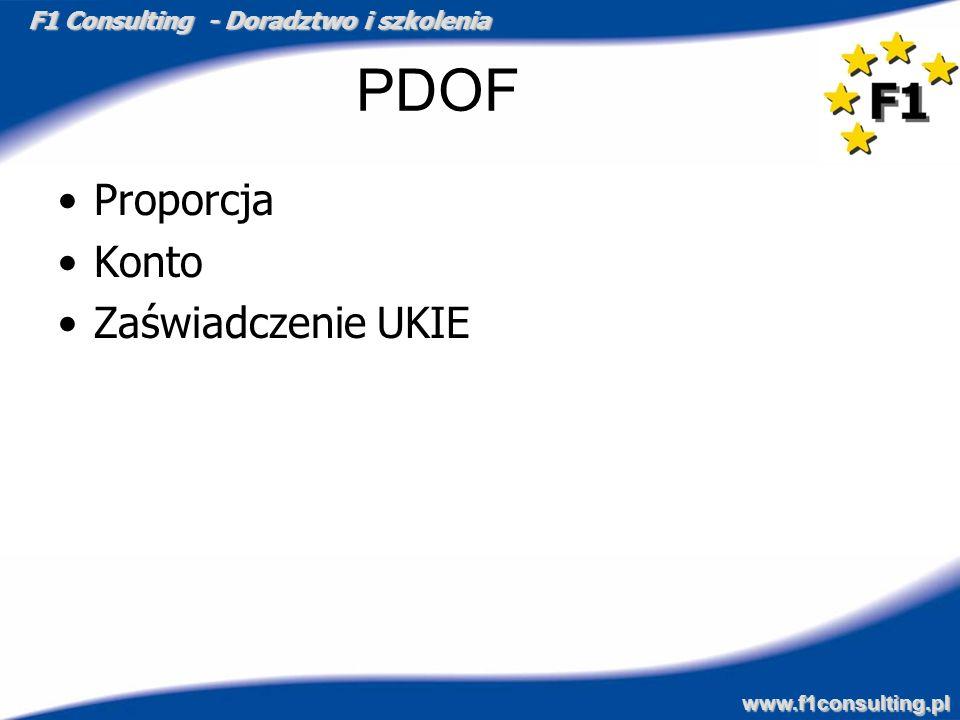 F1 Consulting - Doradztwo i szkolenia www.f1consulting.pl PDOF Proporcja Konto Zaświadczenie UKIE