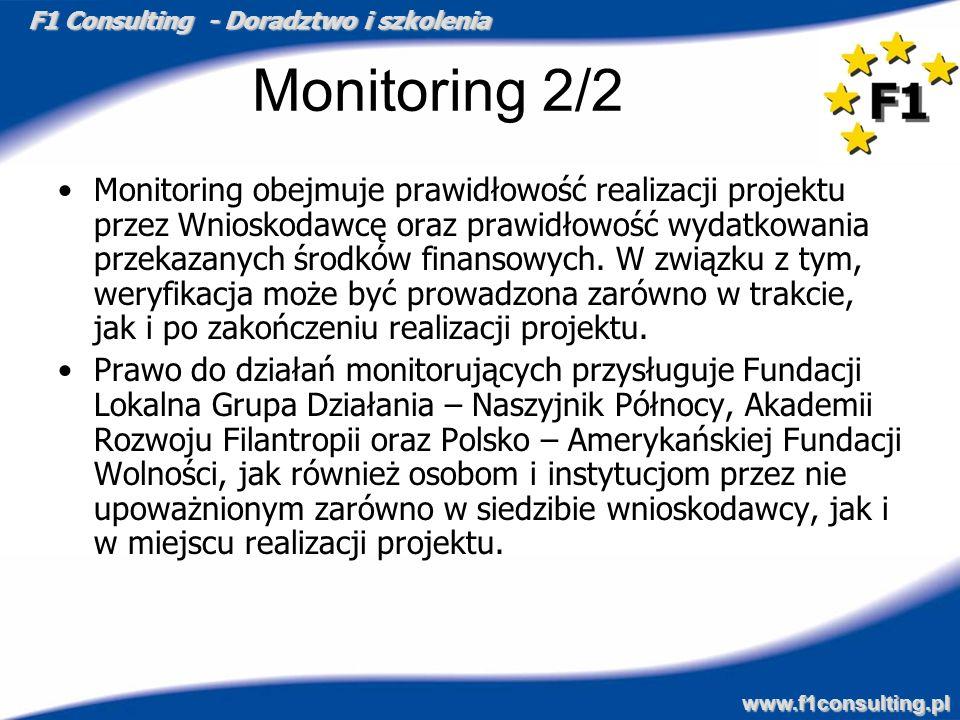 F1 Consulting - Doradztwo i szkolenia www.f1consulting.pl Monitoring 2/2 Monitoring obejmuje prawidłowość realizacji projektu przez Wnioskodawcę oraz