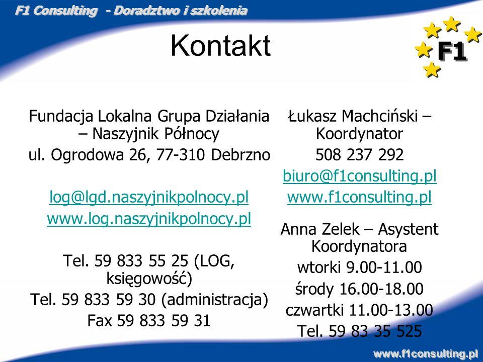 F1 Consulting - Doradztwo i szkolenia www.f1consulting.pl Kontakt Fundacja Lokalna Grupa Działania – Naszyjnik Północy ul. Ogrodowa 26, 77-310 Debrzno