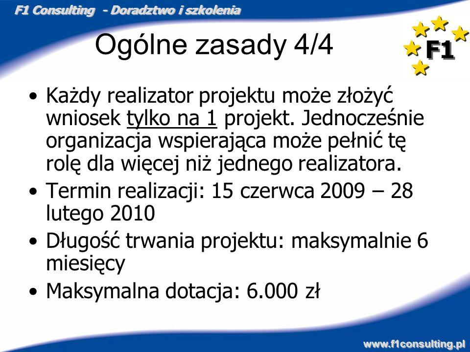 F1 Consulting - Doradztwo i szkolenia www.f1consulting.pl Ogólne zasady 4/4 Każdy realizator projektu może złożyć wniosek tylko na 1 projekt. Jednocze
