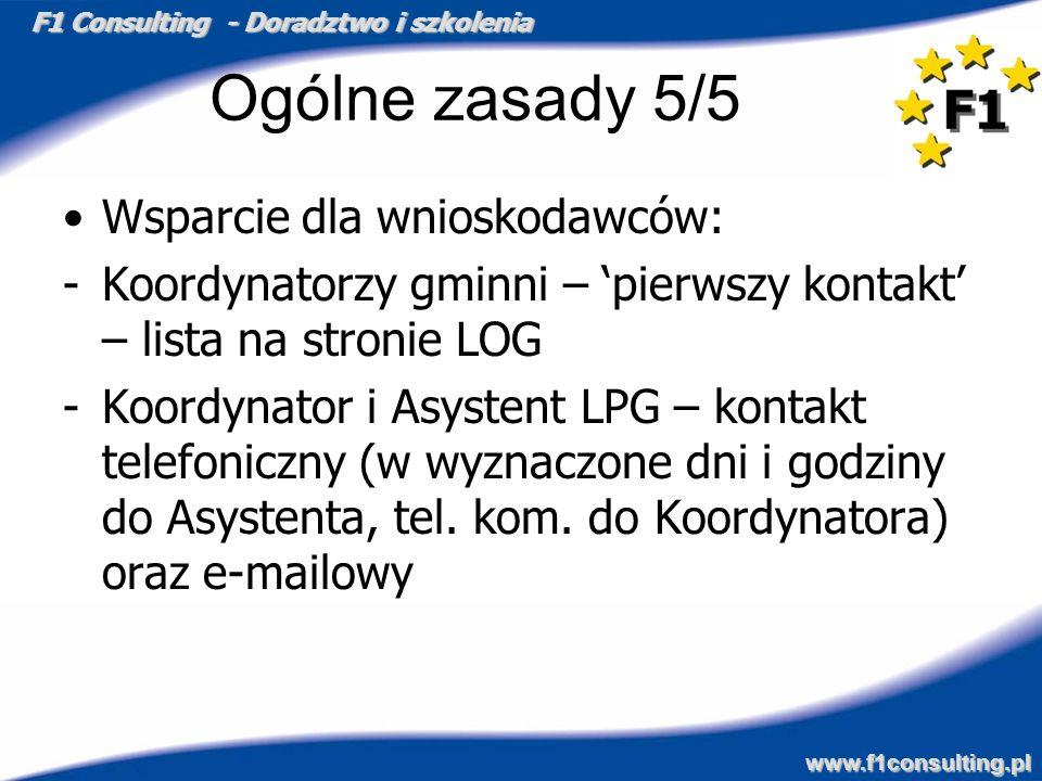 F1 Consulting - Doradztwo i szkolenia www.f1consulting.pl Ogólne zasady 5/5 Wsparcie dla wnioskodawców: -Koordynatorzy gminni – pierwszy kontakt – lis