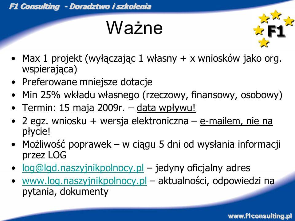 F1 Consulting - Doradztwo i szkolenia www.f1consulting.pl Ważne Max 1 projekt (wyłączając 1 własny + x wniosków jako org. wspierająca) Preferowane mni