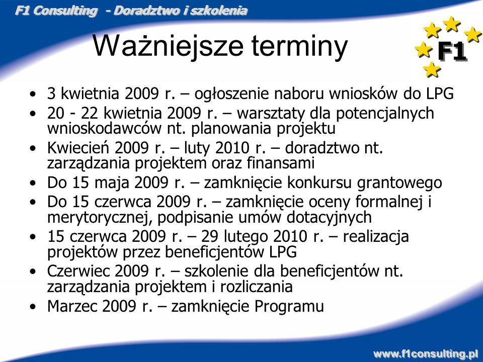 F1 Consulting - Doradztwo i szkolenia www.f1consulting.pl Ważniejsze terminy 3 kwietnia 2009 r. – ogłoszenie naboru wniosków do LPG 20 - 22 kwietnia 2