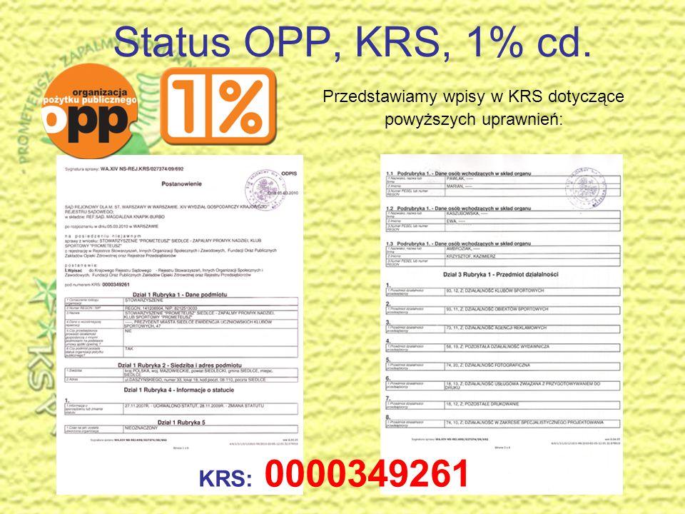 Status OPP, KRS, 1% Stowarzyszenie posiada status Organizacji Pożytku Publicznego, wpis do KRS i Rejestru Przedsiębiorców – może prowadzić działalność