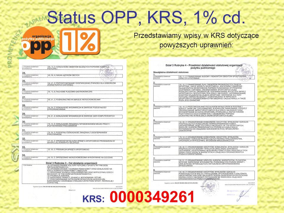 Status OPP, KRS, 1% cd. Przedstawiamy wpisy w KRS dotyczące powyższych uprawnień: KRS: 0000349261