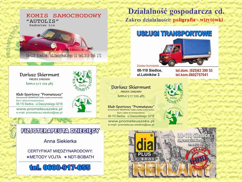 Działalność gospodarcza cd. Zakres działalności: projekty graficzne - logo