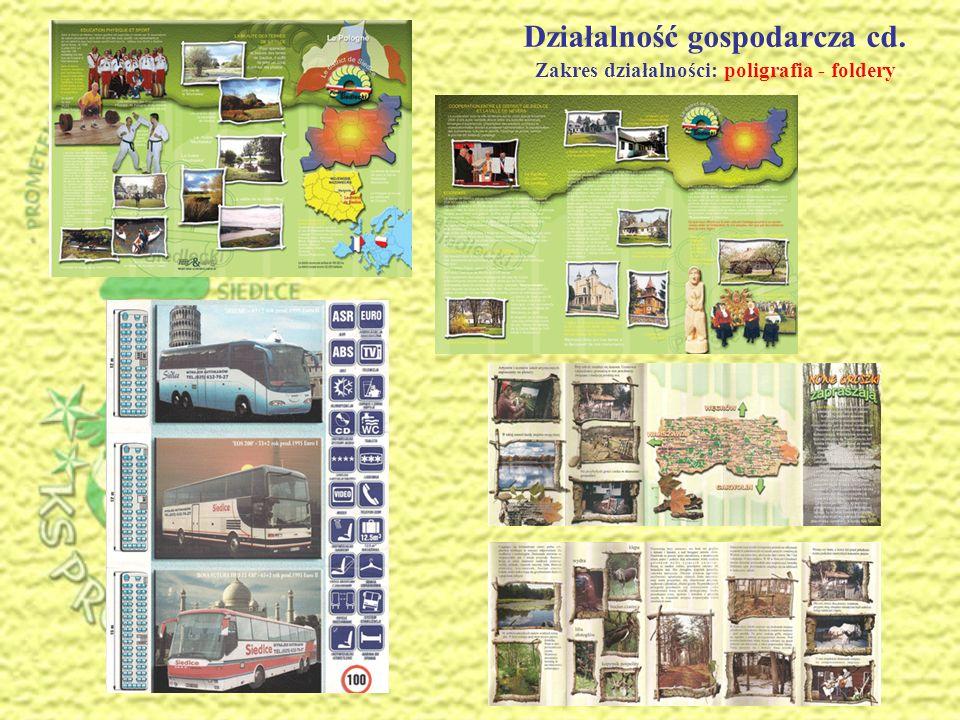 Działalność gospodarcza cd. Zakres działalności: poligrafia - foldery