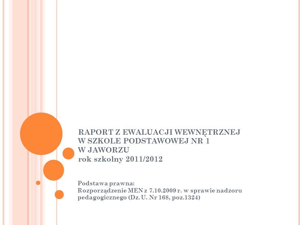 RAPORT Z EWALUACJI WEWNĘTRZNEJ W SZKOLE PODSTAWOWEJ NR 1 W JAWORZU rok szkolny 2011/2012 Podstawa prawna: Rozporządzenie MEN z 7.10.2009 r. w sprawie