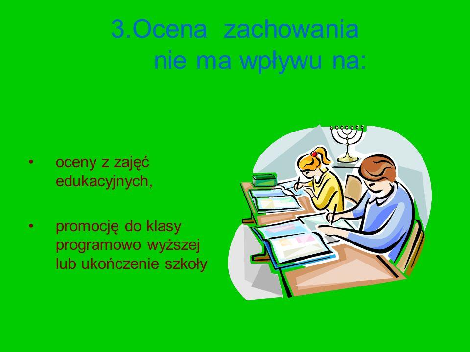 3.Ocena zachowania nie ma wpływu na: oceny z zajęć edukacyjnych, promocję do klasy programowo wyższej lub ukończenie szkoły