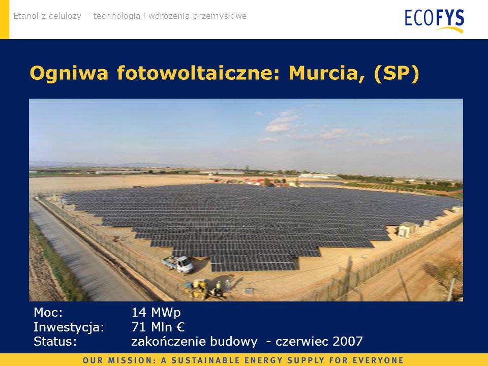 Etanol z celulozy - technologia i wdrożenia przemysłowe Ogniwa fotowoltaiczne: Murcia, (SP) Moc: 14 MWp Inwestycja: 71 Mln Status: zakończenie budowy