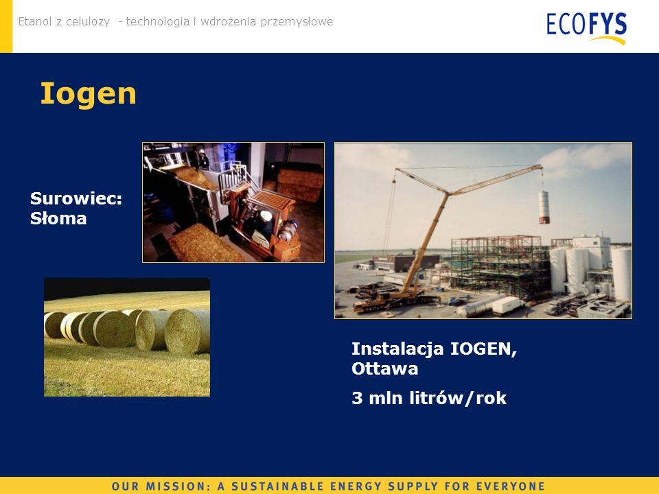 Etanol z celulozy - technologia i wdrożenia przemysłowe Instalacja IOGEN, Ottawa 3 mln litrów/rok Surowiec: Słoma Iogen