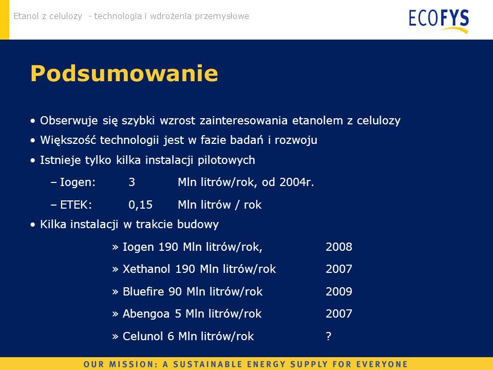 Etanol z celulozy - technologia i wdrożenia przemysłowe Podsumowanie Obserwuje się szybki wzrost zainteresowania etanolem z celulozy Większość technol