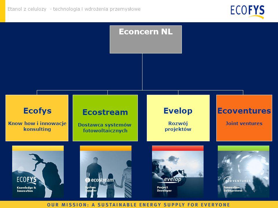 Etanol z celulozy - technologia i wdrożenia przemysłowe Econcern NL Evelop Rozwój projektów Ecostream Dostawca systemów fotowoltaicznych Ecoventures J