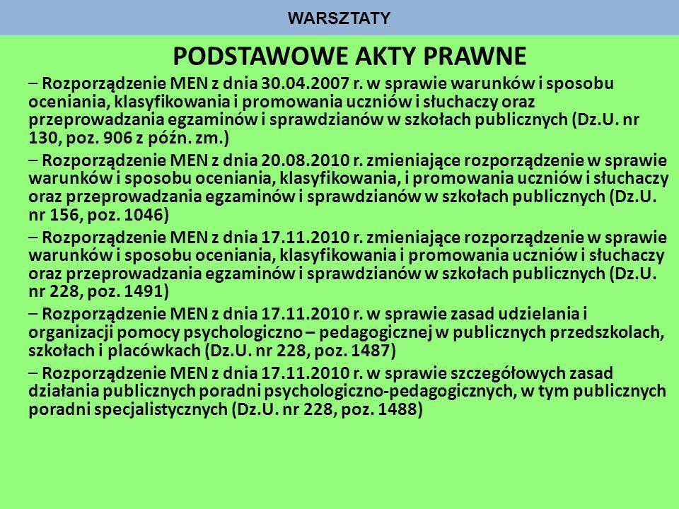 WARSZTATY PODSTAWOWE AKTY PRAWNE – Rozporządzenie MEN z dnia 30.04.2007 r. w sprawie warunków i sposobu oceniania, klasyfikowania i promowania uczniów