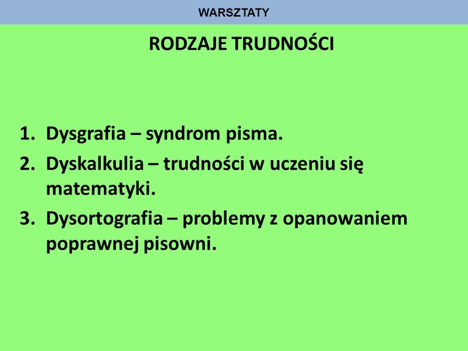 WARSZTATY RODZAJE TRUDNOŚCI 1.Dysgrafia – syndrom pisma. 2.Dyskalkulia – trudności w uczeniu się matematyki. 3.Dysortografia – problemy z opanowaniem