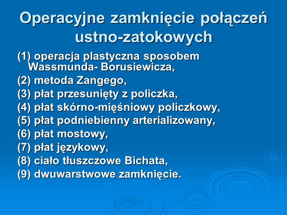 Operacyjne zamknięcie połączeń ustno-zatokowych (1) operacja plastyczna sposobem Wassmunda- Borusiewicza, (2) metoda Zangego, (3) płat przesunięty z p