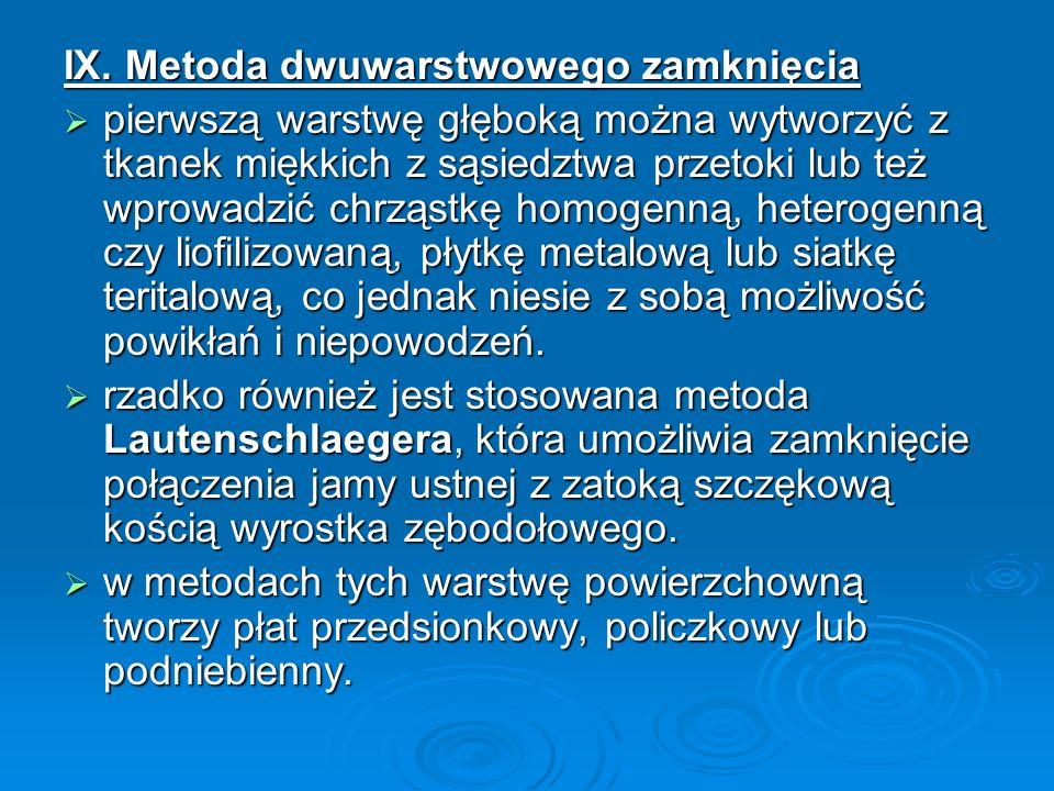 IX. Metoda dwuwarstwowego zamknięcia pierwszą warstwę głęboką można wytworzyć z tkanek miękkich z sąsiedztwa przetoki lub też wprowadzić chrząstkę hom