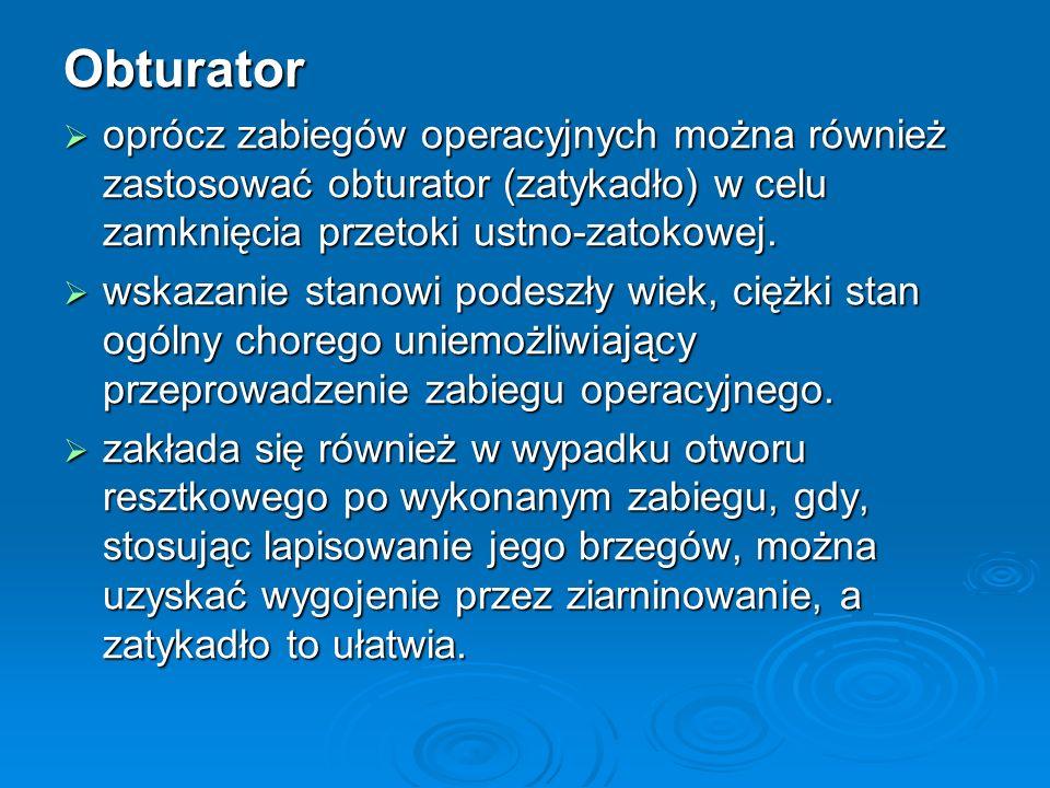 Obturator oprócz zabiegów operacyjnych można również zastosować obturator (zatykadło) w celu zamknięcia przetoki ustno-zatokowej. oprócz zabiegów oper