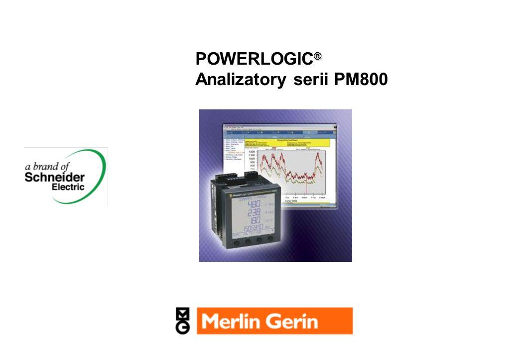 2 Rodzina urządzeń pomiarowych PowerLogic Funkcjonalność PM800 Do pól zasilających Rozszerzony pomiar parm.