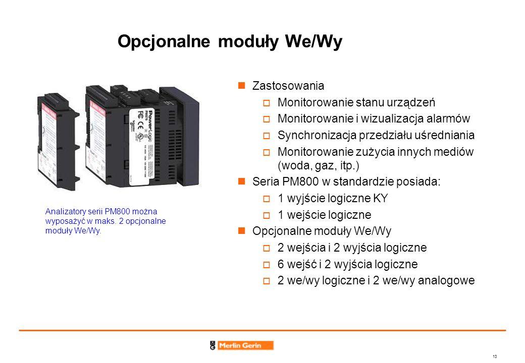 13 Opcjonalne moduły We/Wy Zastosowania Monitorowanie stanu urządzeń Monitorowanie i wizualizacja alarmów Synchronizacja przedziału uśredniania Monito