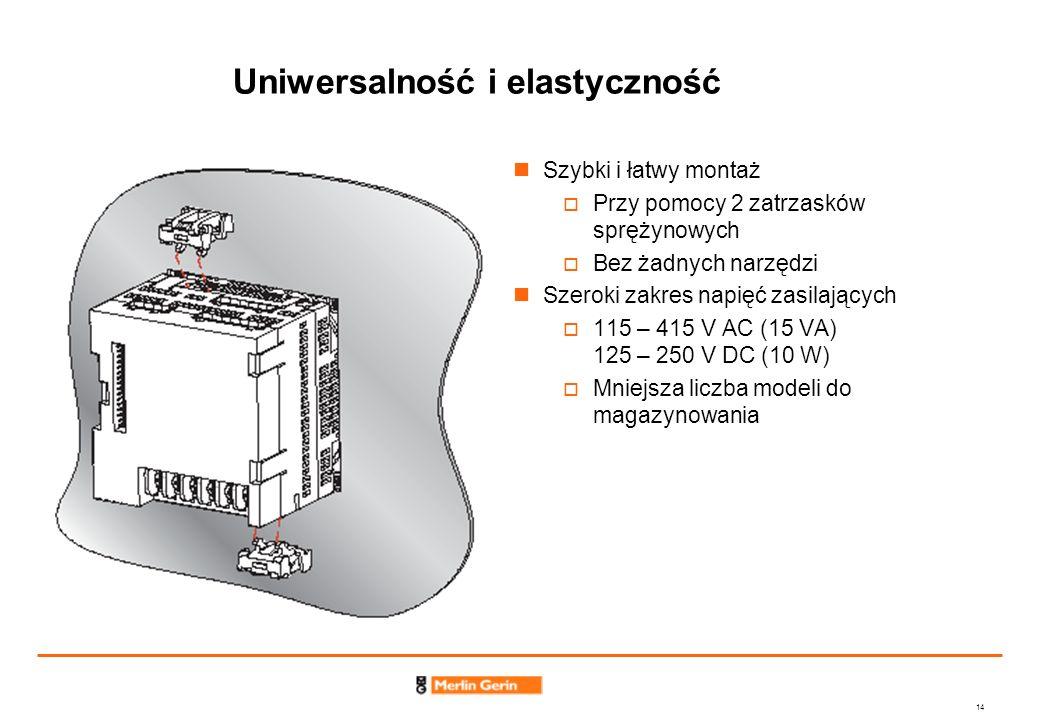 14 Uniwersalność i elastyczność Szybki i łatwy montaż Przy pomocy 2 zatrzasków sprężynowych Bez żadnych narzędzi Szeroki zakres napięć zasilających 11