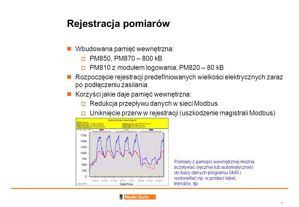 17 Rejestracja pomiarów Wbudowana pamięć wewnętrzna: PM850, PM870 – 800 kB PM810 z modułem logowania, PM820 – 80 kB Rozpoczęcie rejestracji predefinio