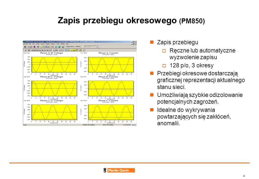 22 Zapis przebiegu okresowego (PM850) Zapis przebiegu Ręczne lub automatyczne wyzwolenie zapisu 128 p/o, 3 okresy Przebiegi okresowe dostarczają grafi