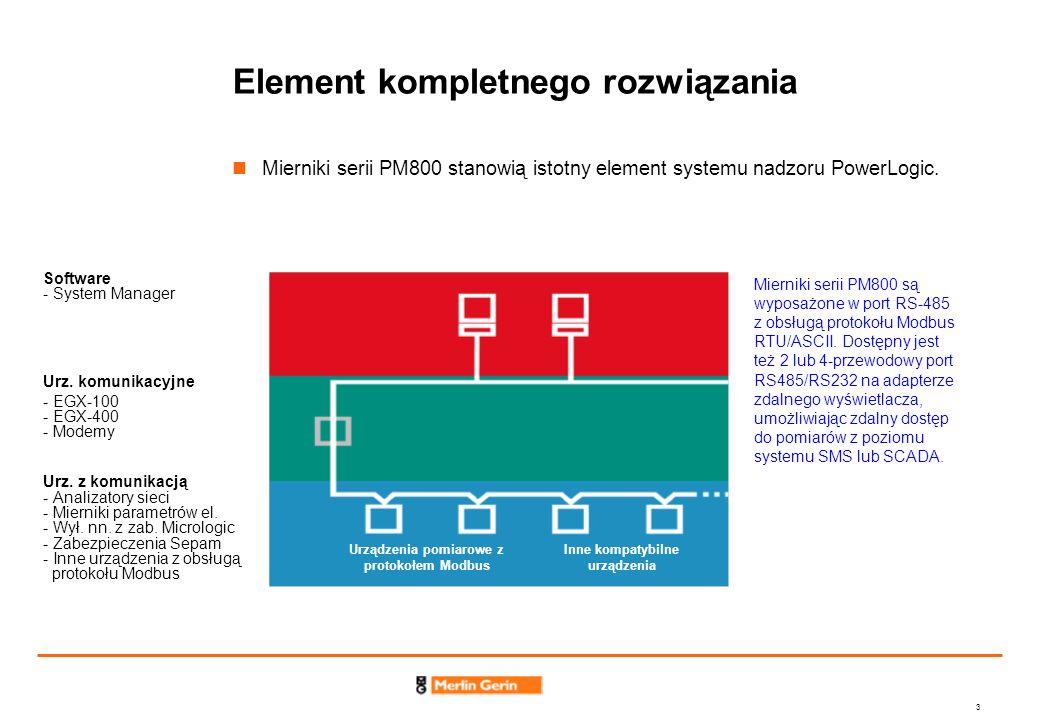 24 Wykrywanie pików i zapadów oraz zaawansowana rejestracja przebiegu (c.d.) Zaawansowany zapis przebiegów (PM870) pozwala na uzyskanie precyzyjnego obrazu stanu sieci w chwili wystąpienia zakłócenia Zapis od 185 okresów dla 1 kanału przy 16 próbkach/okres do 3 okresów dla 6 kanałów przy 128 próbkach/okres Niska jakość energii może prowadzić do kosztownych przestojów w produkcji.