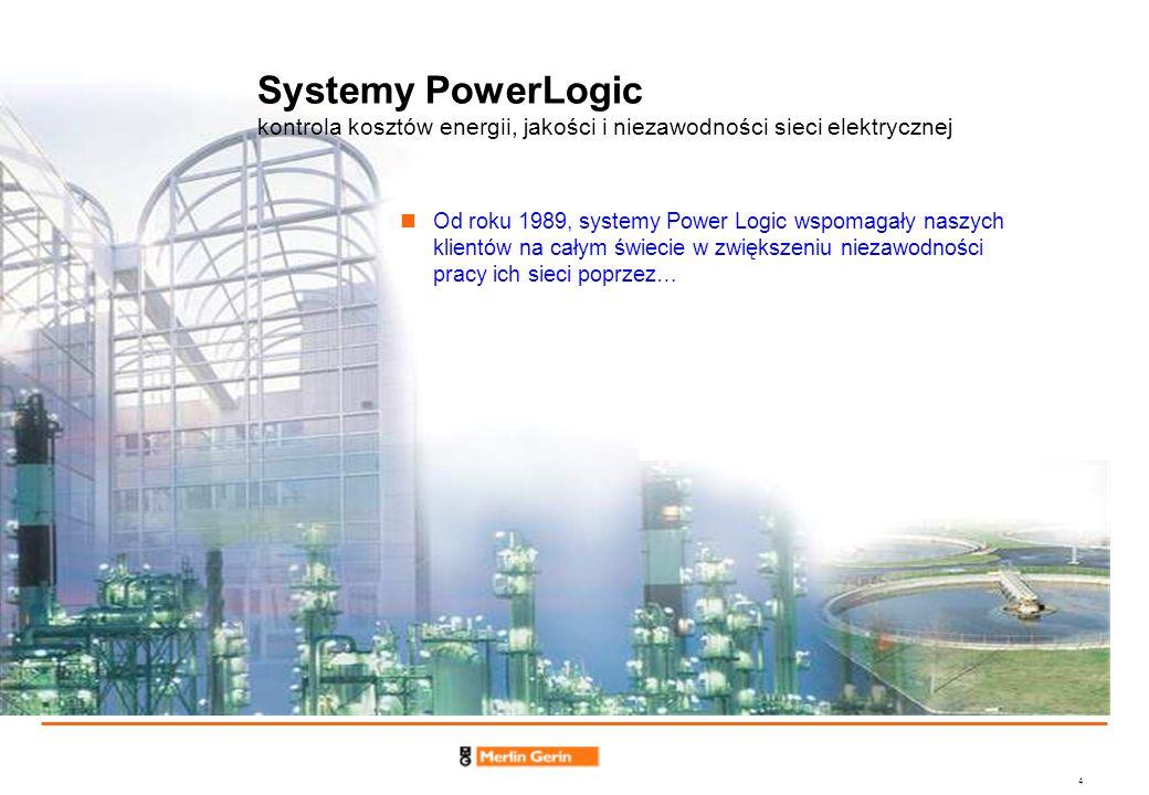 4 Systemy PowerLogic kontrola kosztów energii, jakości i niezawodności sieci elektrycznej Od roku 1989, systemy Power Logic wspomagały naszych klientó