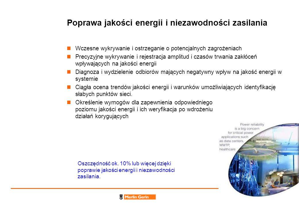 7 Poprawa jakości energii i niezawodności zasilania Wczesne wykrywanie i ostrzeganie o potencjalnych zagrożeniach Precyzyjne wykrywanie i rejestracja