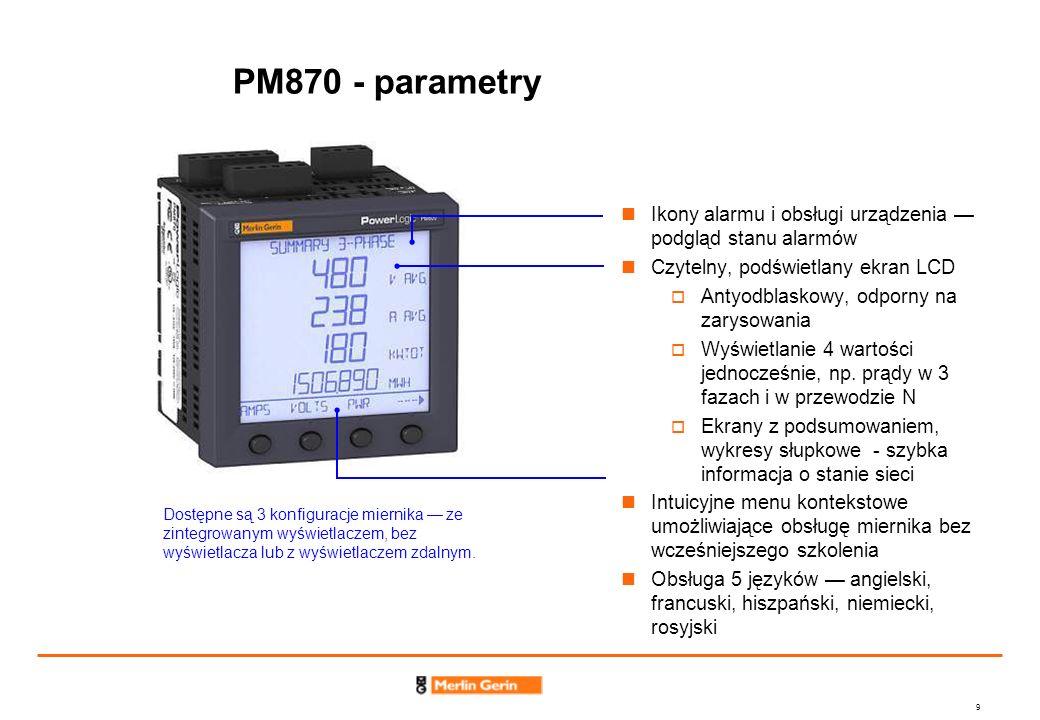 10 PM870 – parametry (cd.) Wyjście KY /Wejście logiczne Zasilanie Wejścia pomiarowe napięciowe – 600 VAC mierzone bezpośrednio; Złącze modułów opcjonalnych Wejścia pomiarowe prądowe - bezpośredni pomiar prądu do 15 A Port RS-485, 2-przewodowy Modbus- RTU lub -ASCII Komunikacja z systemem SMS Komunikacja z systemami BAS lub SCADA Aktualizowany firmware pozwalający na rozszerzanie możliwości urządzenia