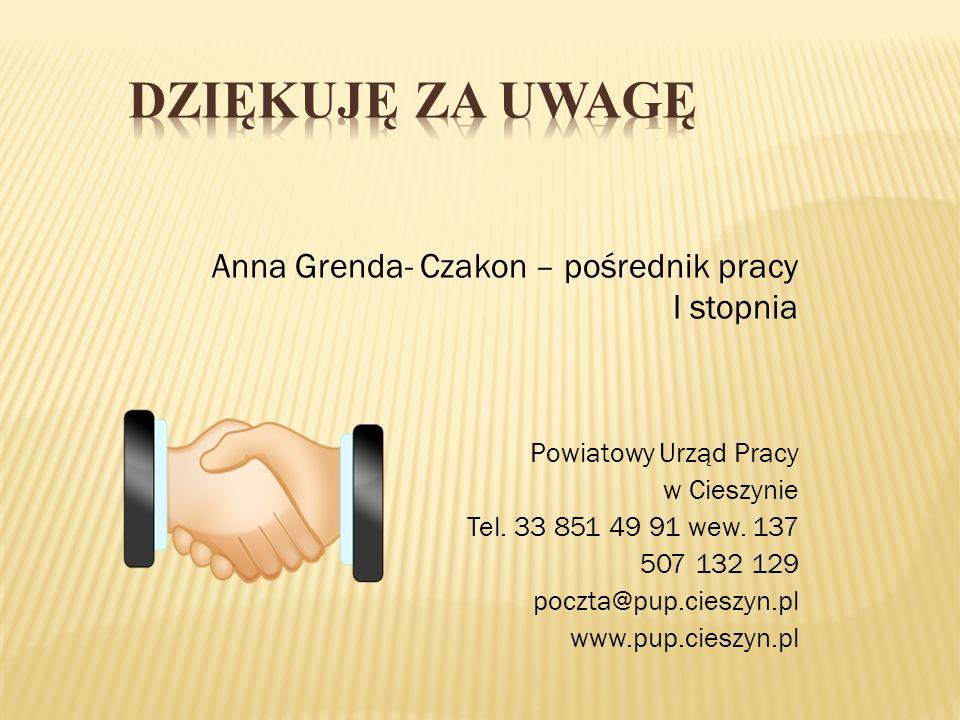 Anna Grenda- Czakon – pośrednik pracy I stopnia Powiatowy Urząd Pracy w Cieszynie Tel. 33 851 49 91 wew. 137 507 132 129 poczta@pup.cieszyn.pl www.pup