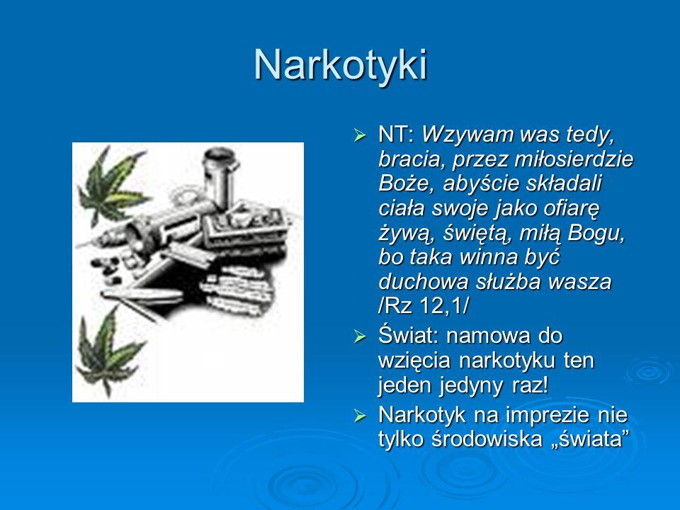 Narkotyki NT: Wzywam was tedy, bracia, przez miłosierdzie Boże, abyście składali ciała swoje jako ofiarę żywą, świętą, miłą Bogu, bo taka winna być du