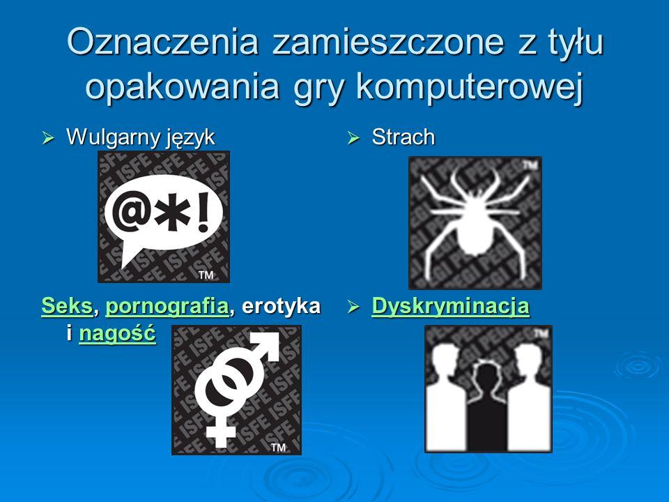Oznaczenia zamieszczone z tyłu opakowania gry komputerowej Strach Strach SeksSeks, pornografia, erotyka i nagość pornografianagość Sekspornografianago