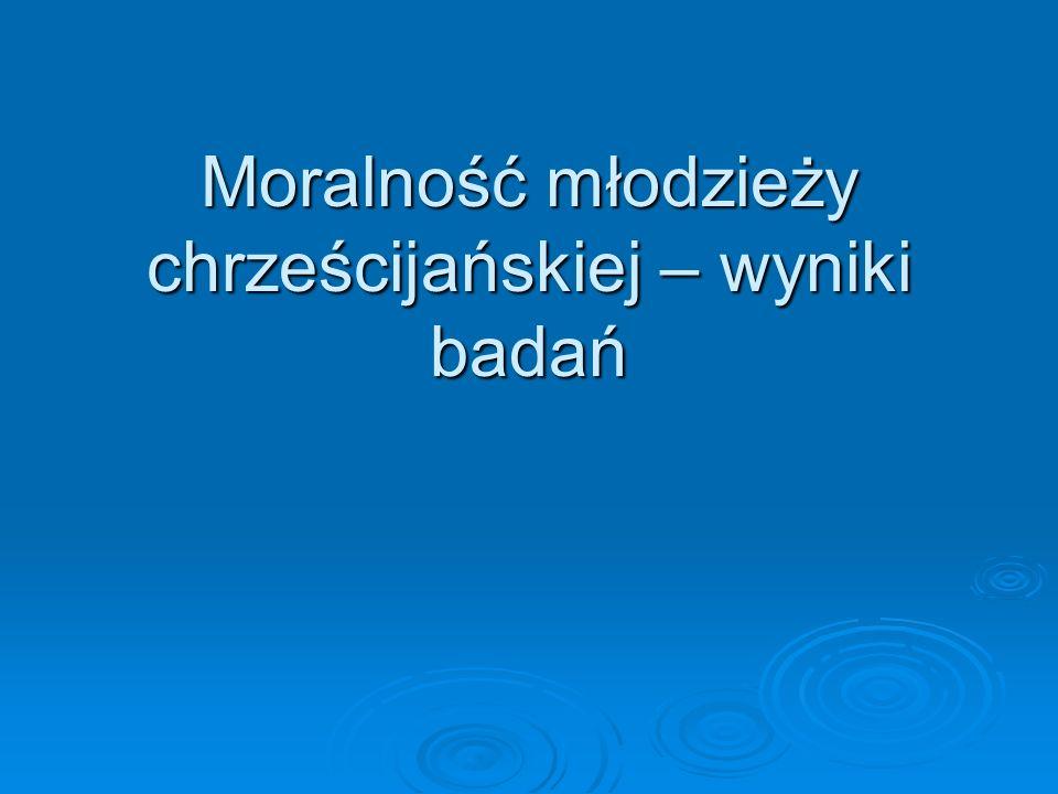 Moralność młodzieży chrześcijańskiej – wyniki badań