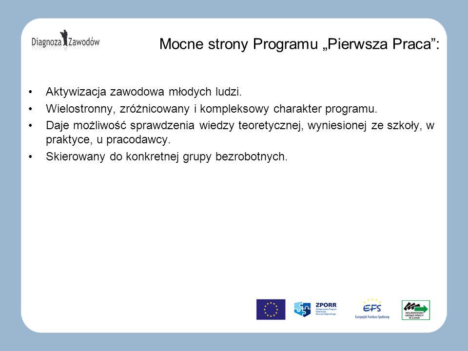 Mocne strony Programu Pierwsza Praca: Aktywizacja zawodowa młodych ludzi. Wielostronny, zróżnicowany i kompleksowy charakter programu. Daje możliwość