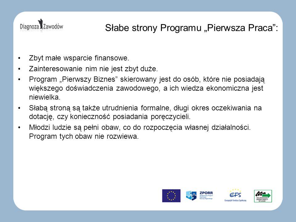 Słabe strony Programu Pierwsza Praca: Zbyt małe wsparcie finansowe.