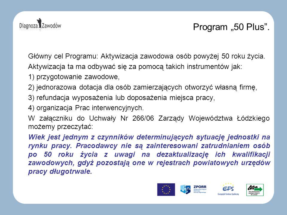 Program 50 Plus. Główny cel Programu: Aktywizacja zawodowa osób powyżej 50 roku życia. Aktywizacja ta ma odbywać się za pomocą takich instrumentów jak