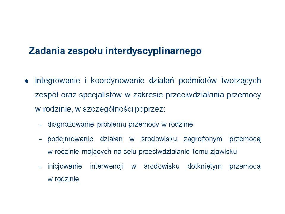 Zadania zespołu interdyscyplinarnego integrowanie i koordynowanie działań podmiotów tworzących zespół oraz specjalistów w zakresie przeciwdziałania pr