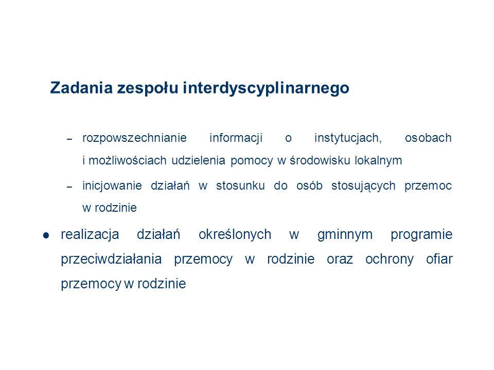 Zadania zespołu interdyscyplinarnego – rozpowszechnianie informacji o instytucjach, osobach i możliwościach udzielenia pomocy w środowisku lokalnym –