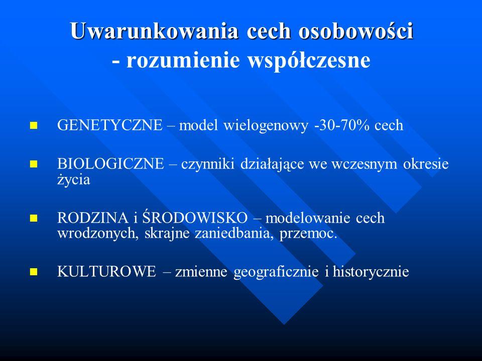 Uwarunkowania cech osobowości Uwarunkowania cech osobowości - rozumienie współczesne GENETYCZNE – model wielogenowy -30-70% cech BIOLOGICZNE – czynnik
