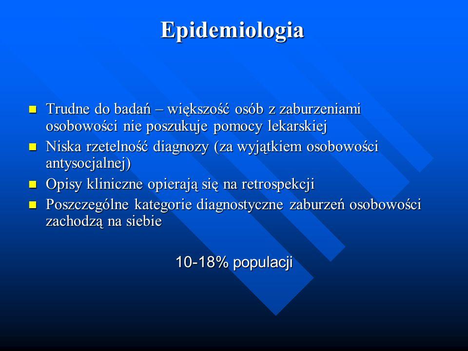 Epidemiologia Trudne do badań – większość osób z zaburzeniami osobowości nie poszukuje pomocy lekarskiej Trudne do badań – większość osób z zaburzenia
